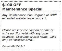 Passport bmw service coupons